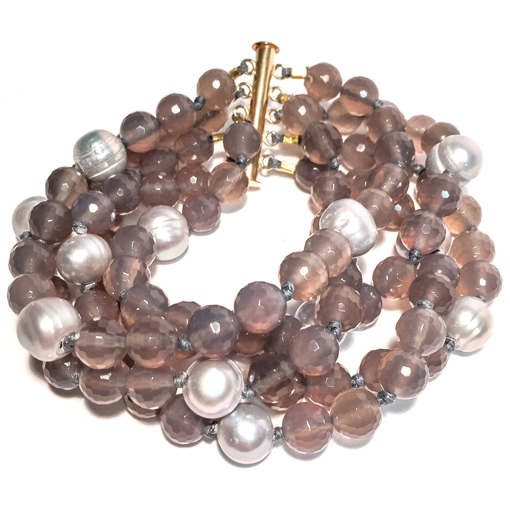 Laurel Bracelet, 4-strand Gray Agate with Gray Pearls