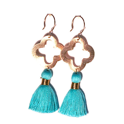 HE 1070 Lulu Quatrefoil Earrings, Sky Blue