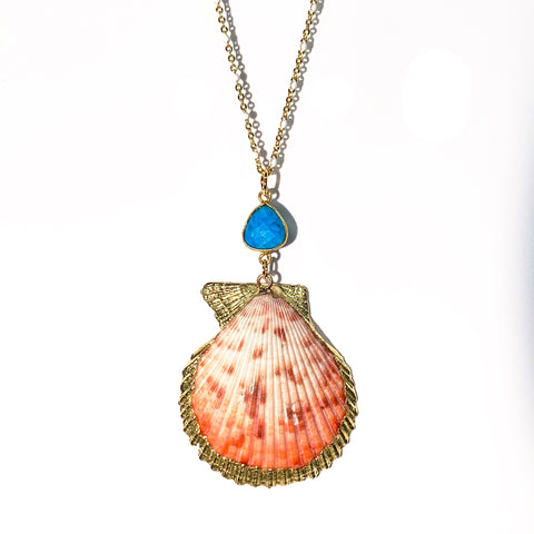 One of a Kind: Lion's Paw Scallop Shell & Turquoise Necklace on White Enamel Chain