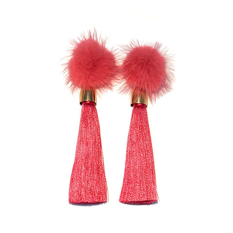 HE 1700 Cozytime Mink Tassel Earrings in Prada Pink