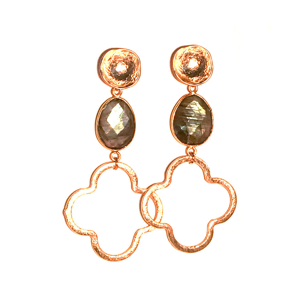 Megan Gemstone Quatrefoil Earrings - Labradorite