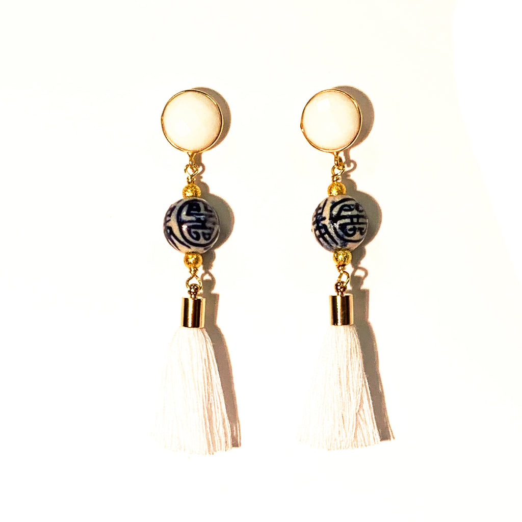 One of a Kind: Chinoiserie White Tassel Earrings