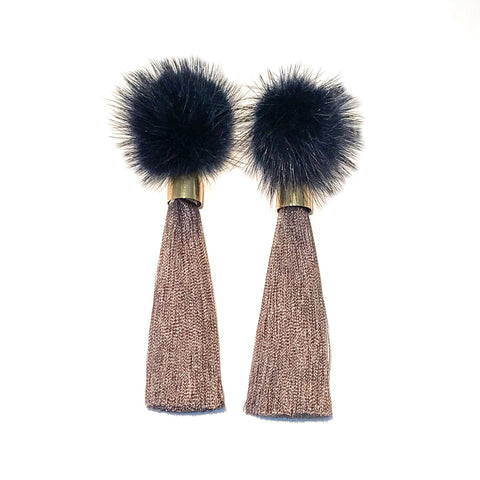 HE 1700 Cozytime Mink Tassel Earrings in Gray