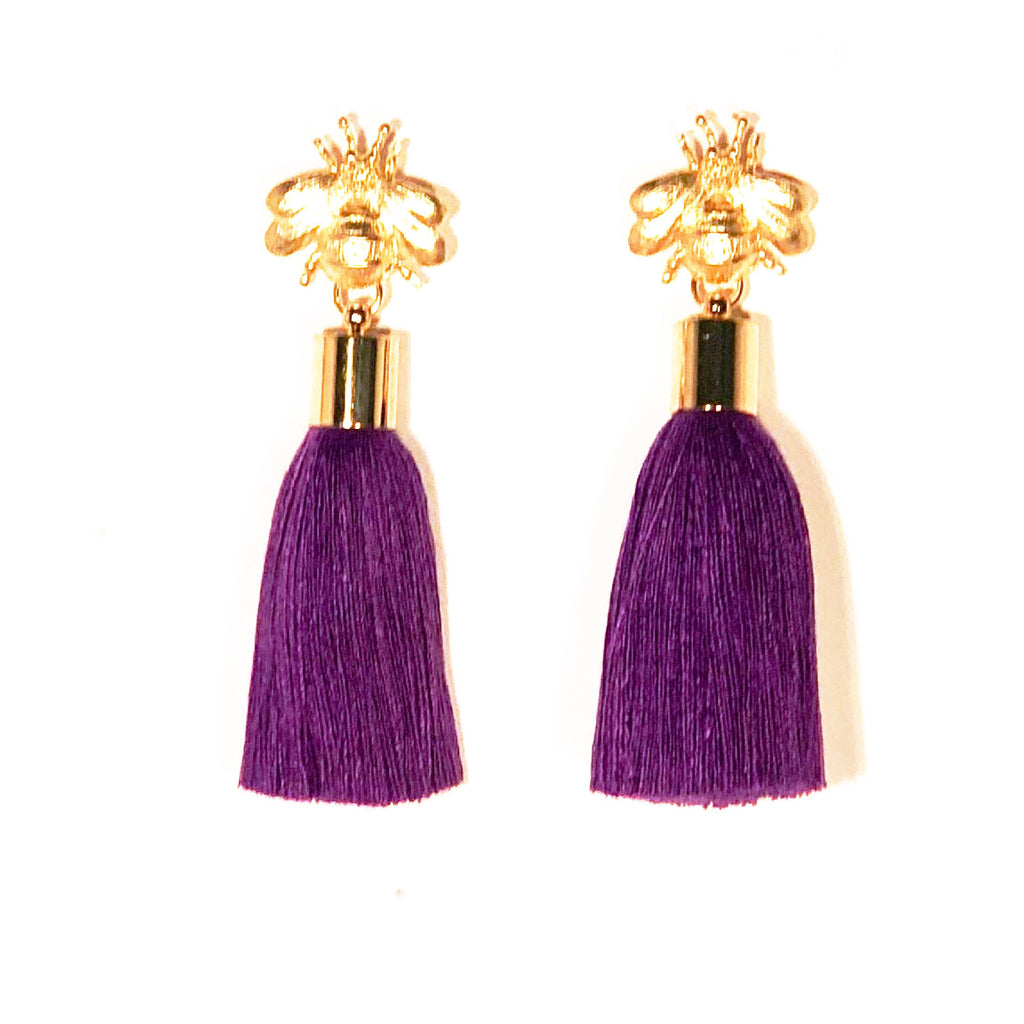 SugarBuzz Queen Bee Tassel Earrings - Violet Purple