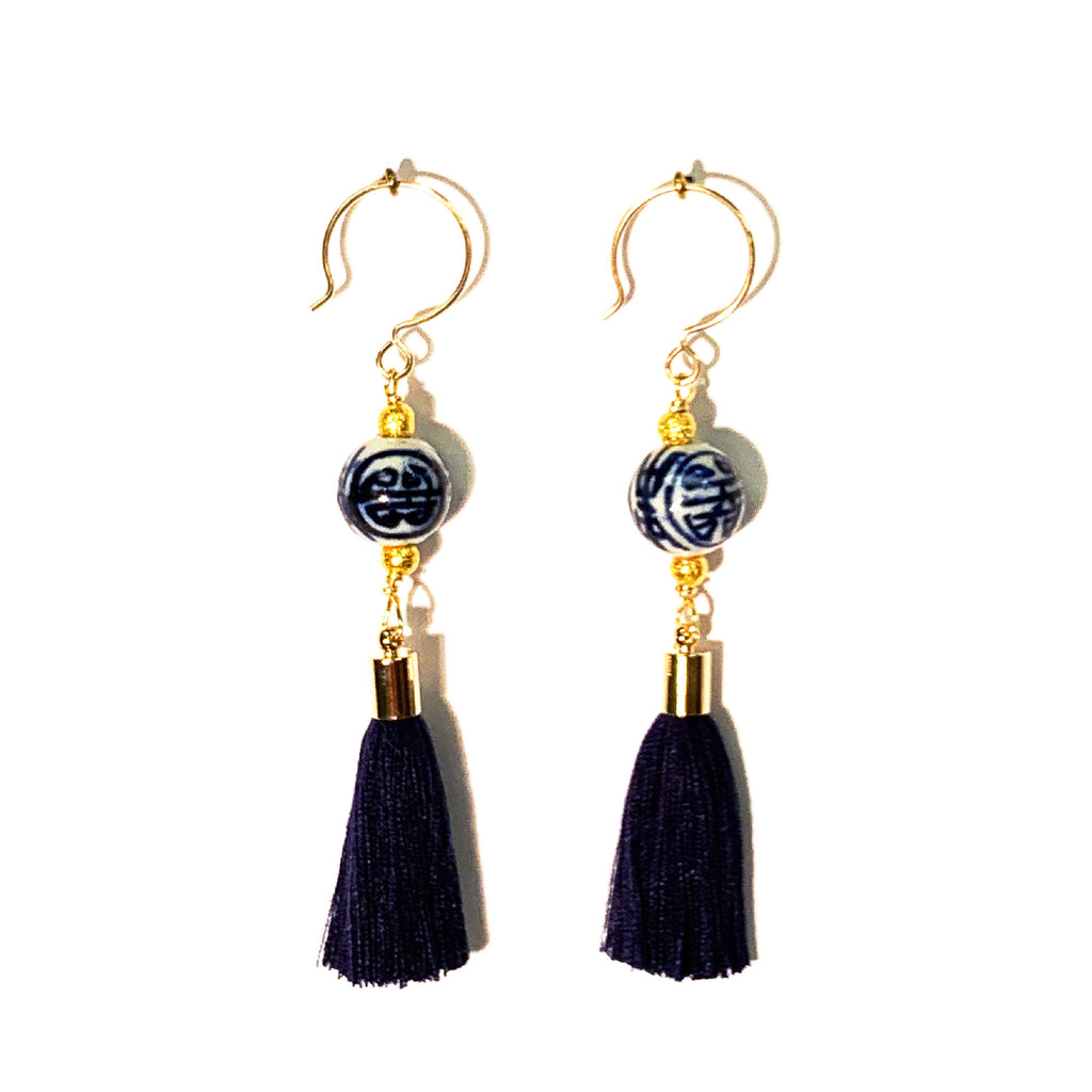 Chinoiserie Tassel Earrings, Pink or Navy