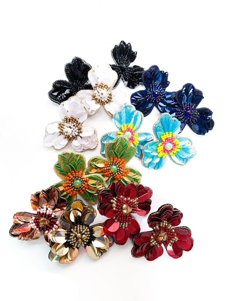 Embroidered Flower Large Studs
