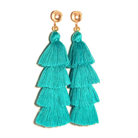 HE 750 Lillian Tassels in Turquoise (4 Tassel Earrings)