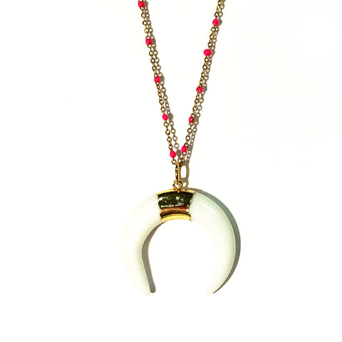 Double Horn Mini-pendant on Hot Pink Enamel Chain
