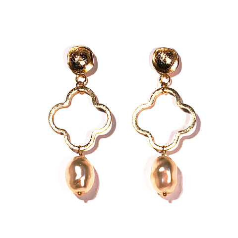 Vintage Pearl Drop Quatrefoil Earrings