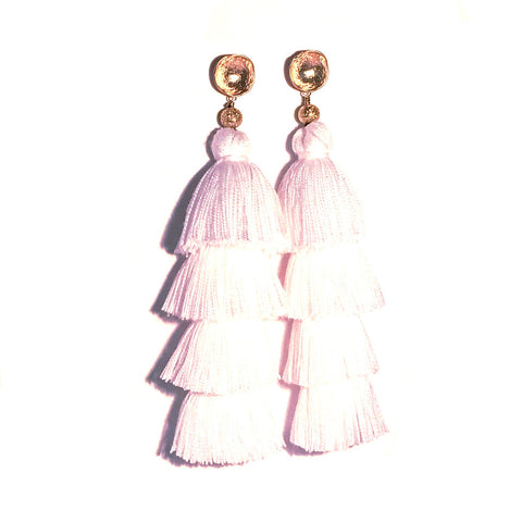 HE 750 Lillian Tassels in White (4 Tassel Earrings)