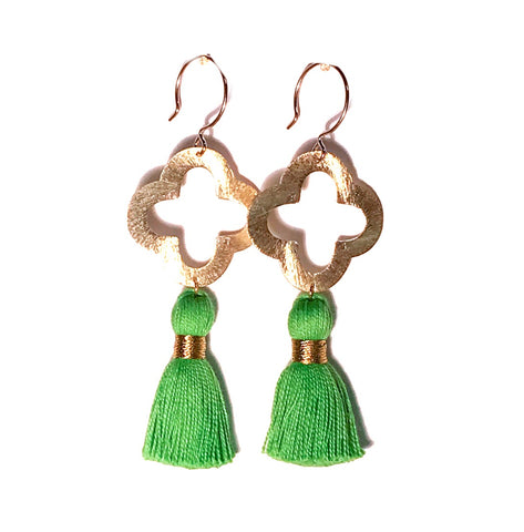 HE 1070 Lulu Quatrefoil Tassel Earrings, Spring Green