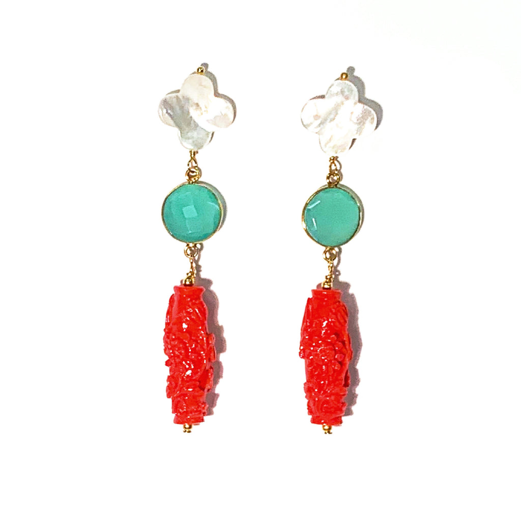 Chinoiserie Coral Earrings