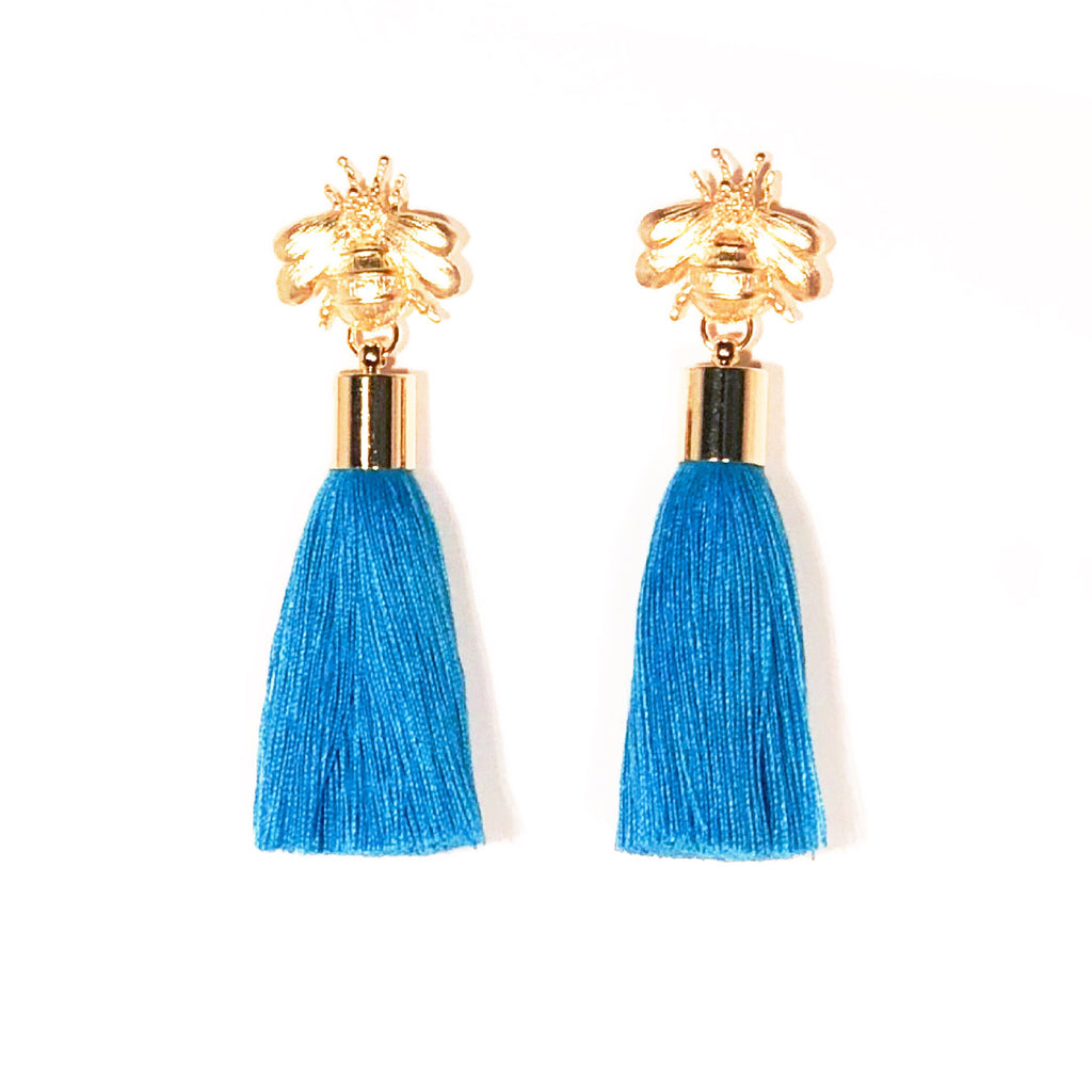 SugarBuzz Queen Bee Tassel Earrings - Turquoise