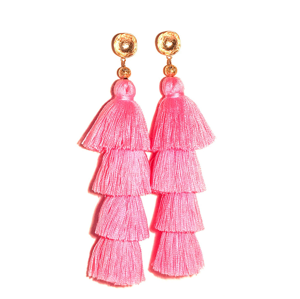 HE 750 Lillian Tassels in Pink (4 Tassel Earrings)