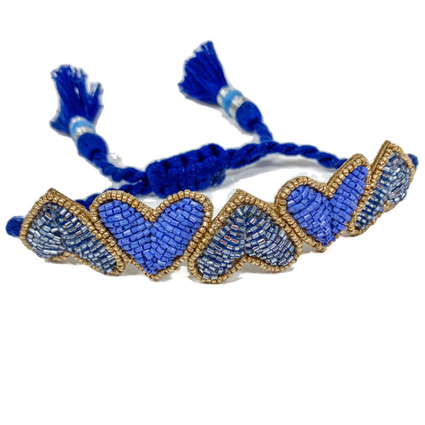 Periwinkle Blue Embroidered Hearts Bracelet