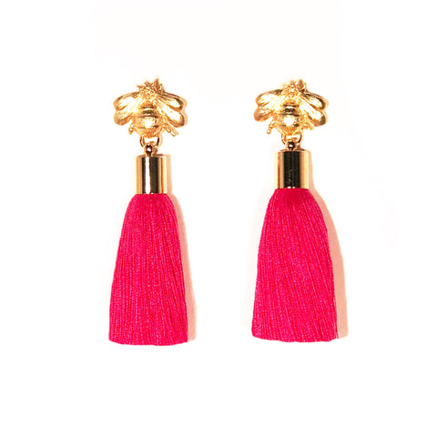 SugarBuzz Queen Bee Tassel Earrings - Magenta