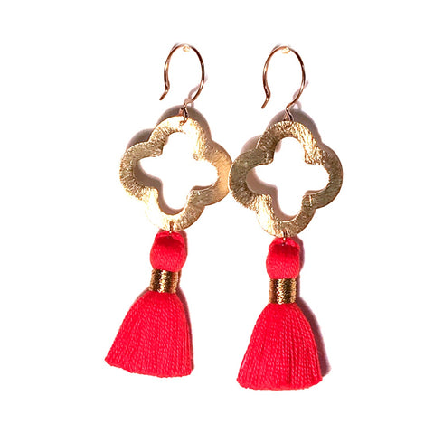 HE 1070 Lulu Quatrefoil Tassel Earrings, Orange