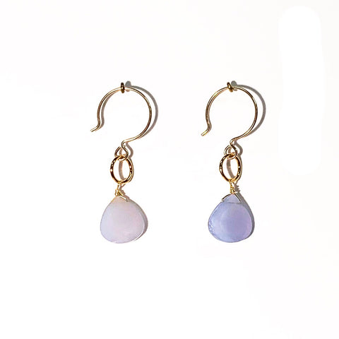 Lavender Chalcedony Single Stone Drop Earrings