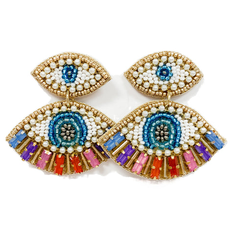 Double Eye Embroidered Earrings