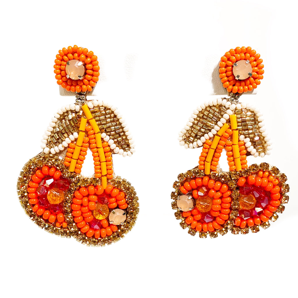 Cherry Earrings in Orange