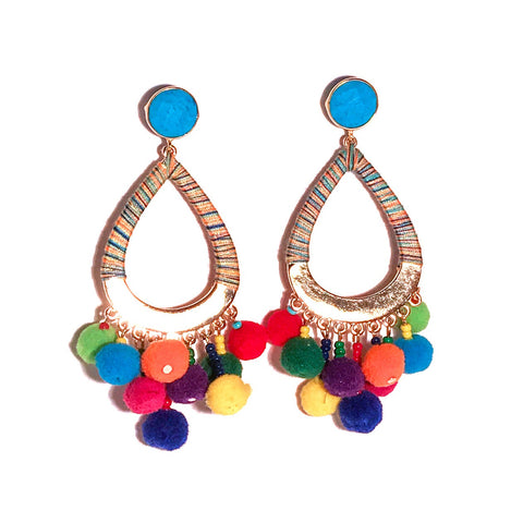 HE 635 Boom Chicka Pom Pom Earrings in Circus