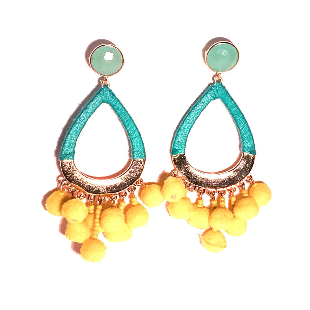 HE 635 Boom Chicka Pom Pom Earrings in Yellow and Chalcedony