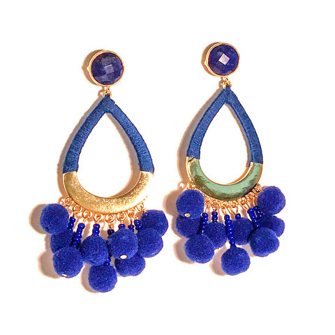 HE 635 Boom Chicka Pom Pom Earrings in Royal Blue and Lapis