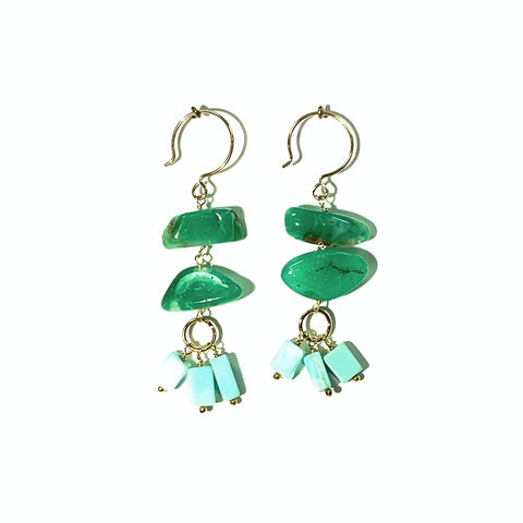 One of a Kind: Chrysoprase Nugget Earrings