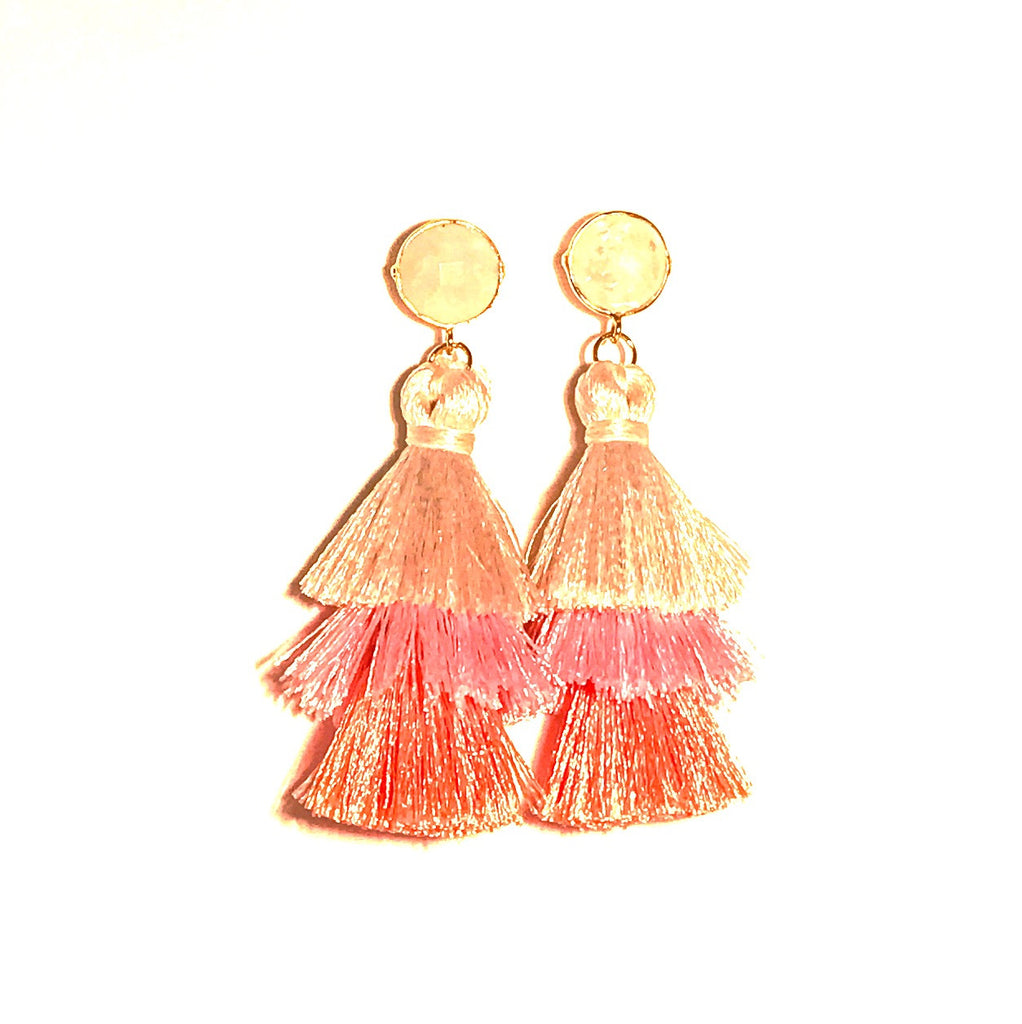 HE 670 Capri Triple Tassel Earrings in Moonstone Ombre