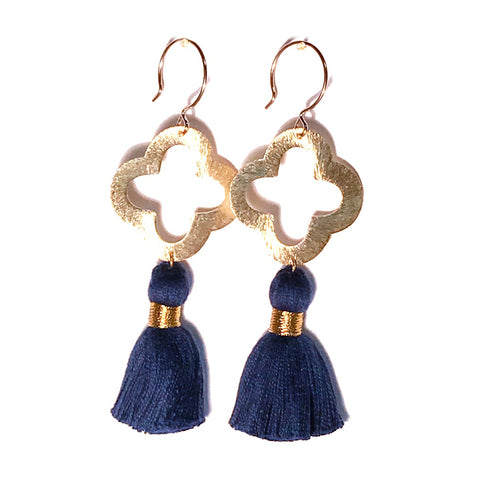 HE 1070 Lulu Quatrefoil Tassel Earrings - Navy Blue