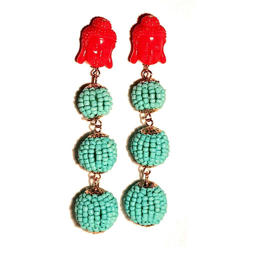 HE 1020 Buddha Ball Earrings in Beaded Turquoise with Coral