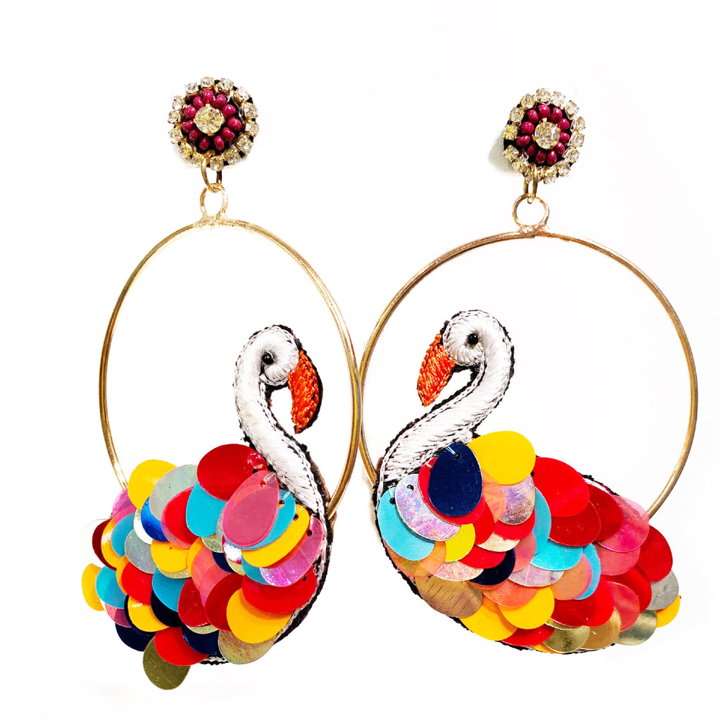 Multi-colored Swan Hoops