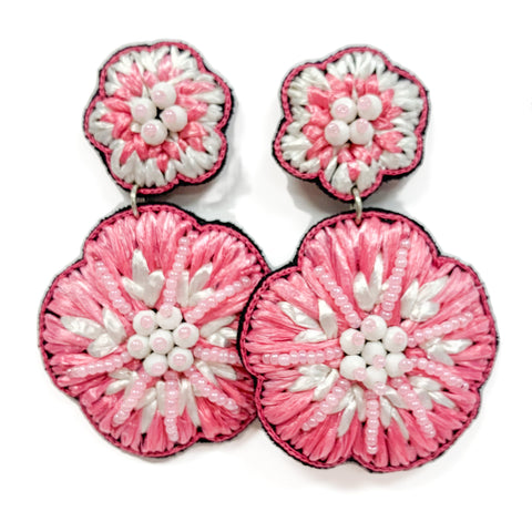 Pink Raffia Flower Earrings