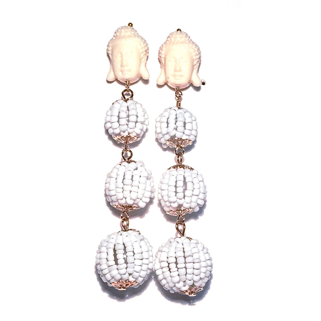 HE 1020 Buddha Beaded Ball Drops in White