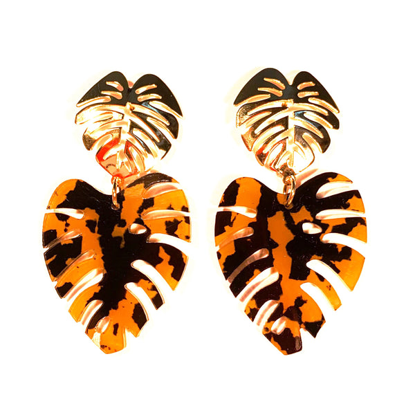 A* Double Leaf Earrings, Large or Small