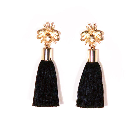 SugarBuzz Queen Bee Tassel Earrings - Black