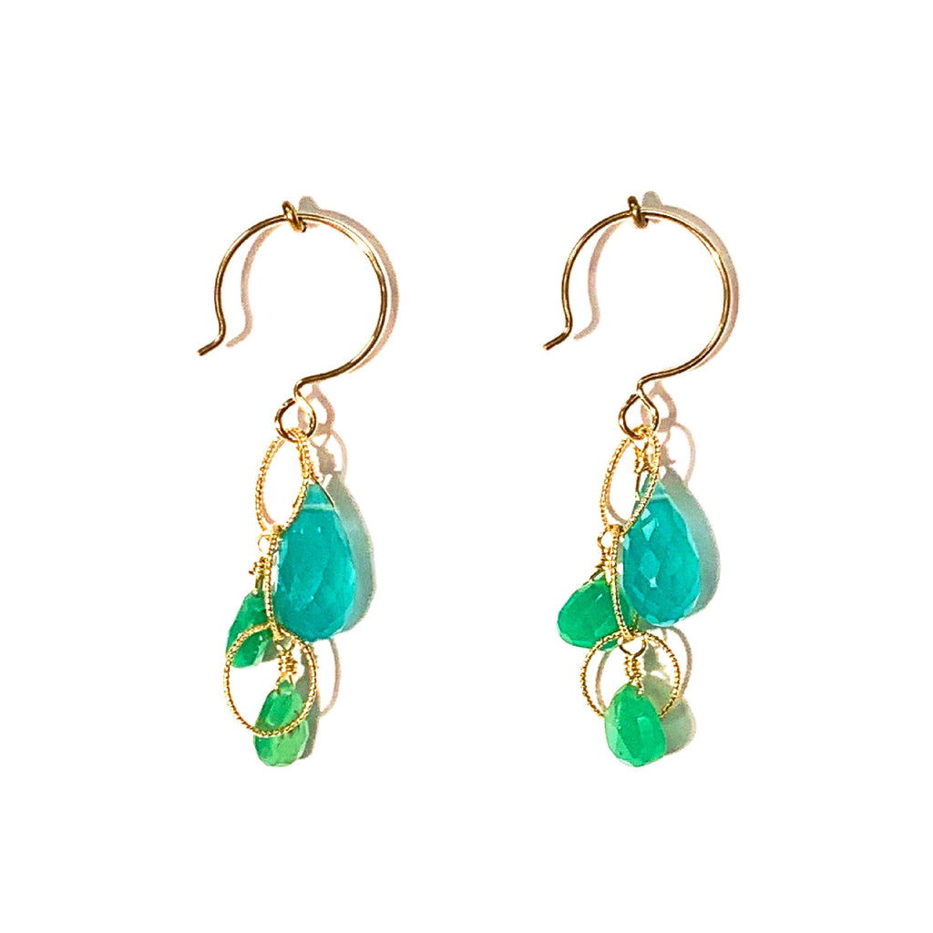 One of a Kind: Chrysoprase & Chalcedony Earrings