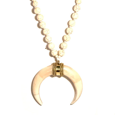 HN 201 Short Length Double Horn Necklace in White Howlite