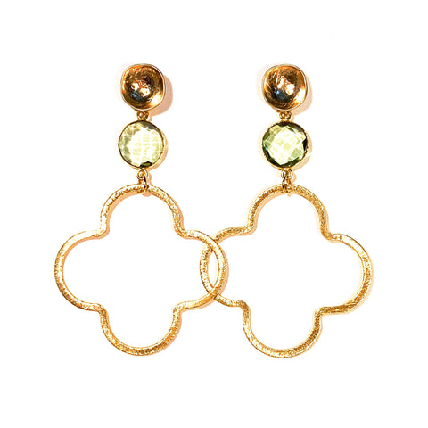 Meredith Gemstone Quatrefoil Earrings - More Colors Available