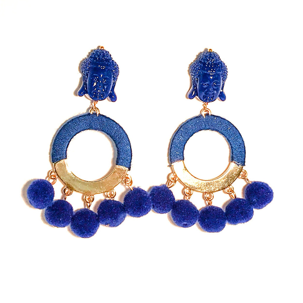 HE 800 BUDDHA Pom Pom Earrings - Royal Blue