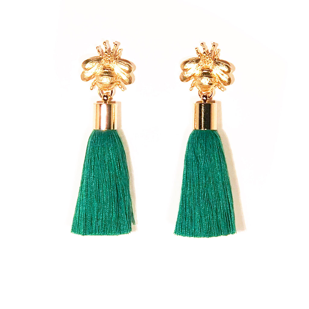 SugarBuzz Queen Bee Tassel Earrings - Grass Green