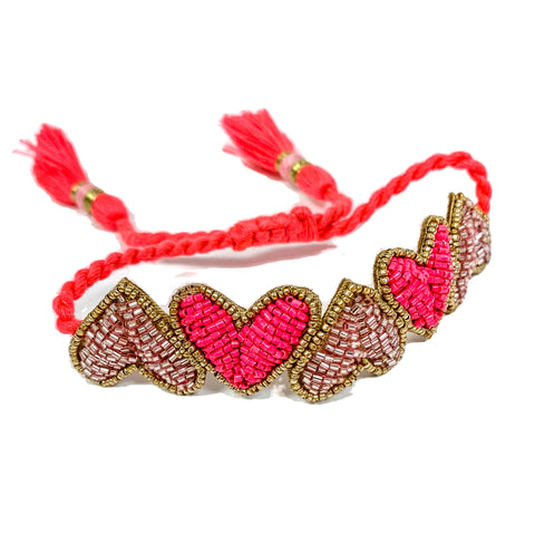 Pink Embroidered Hearts Bracelet