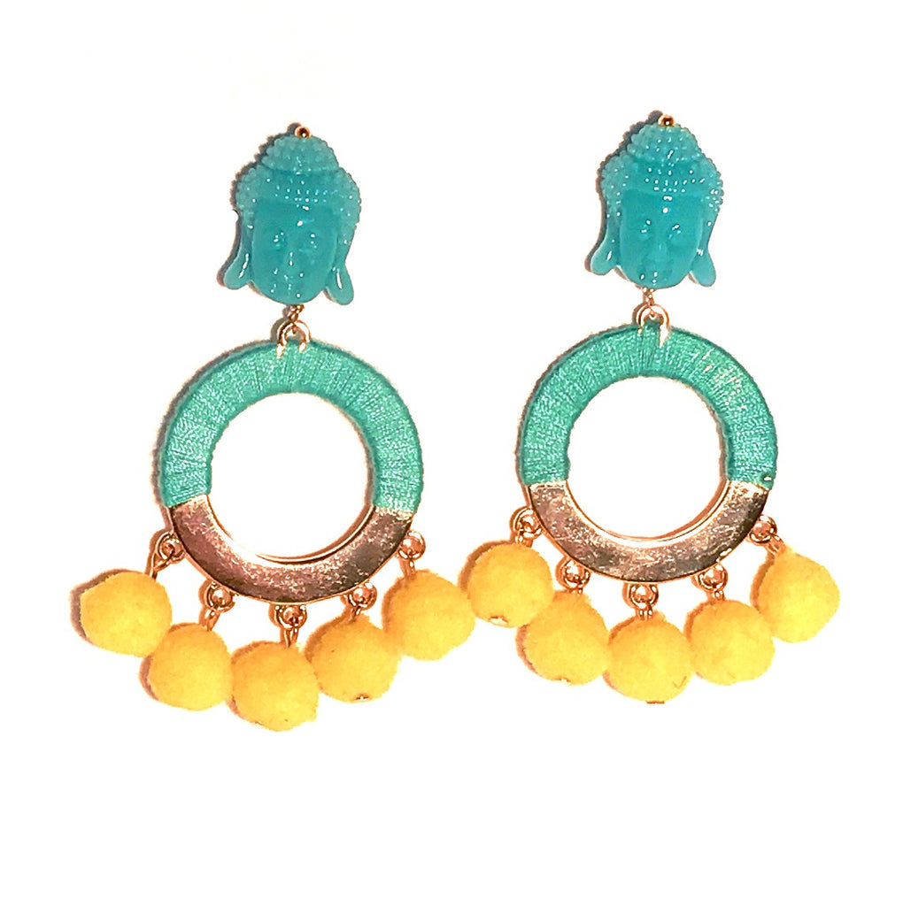 HE 800 BUDDHA Pom Pom Earrings - Aqua & Yellow