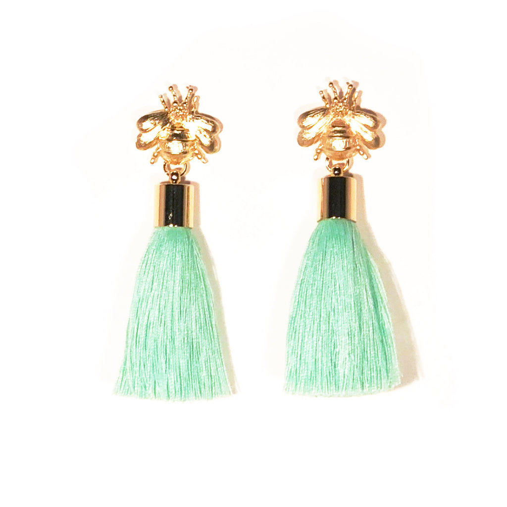 SugarBuzz Queen Bee Tassel Earrings - Mint Green