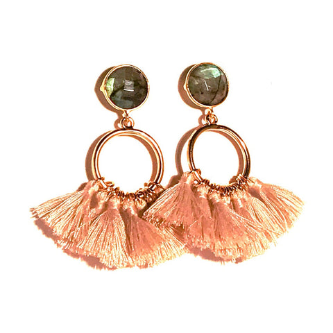 HE 640 Bailey Tassel Earrings in Khaki and Labradorite