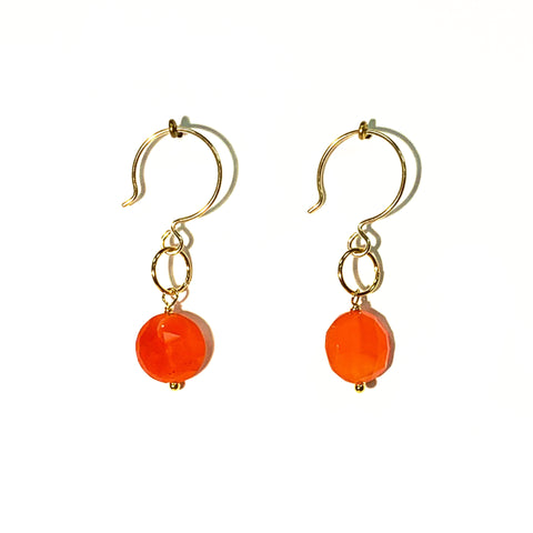 Carnelian Single Stone Drop Earrings