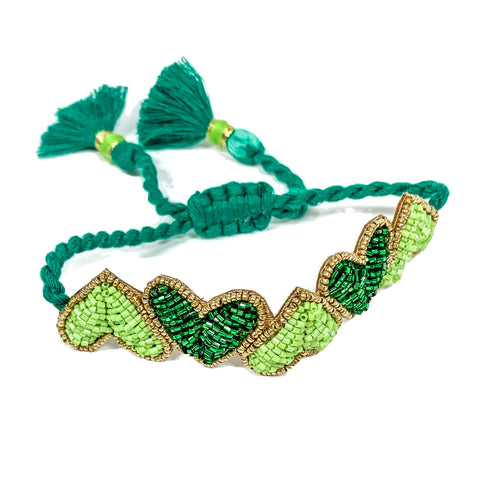 Green Hearts Embroidered Bracelet