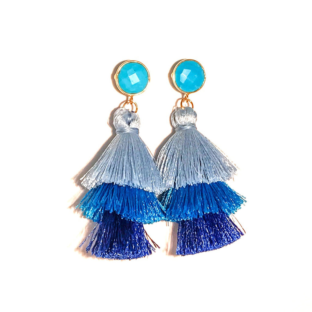 HE 670 Capri Triple Tassel Earrings in Sky Ombre