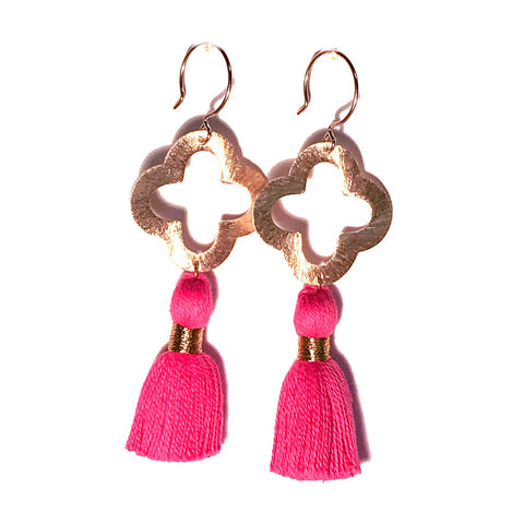 HE 1070 Lulu Quatrefoil Earrings, Flamingo Pink