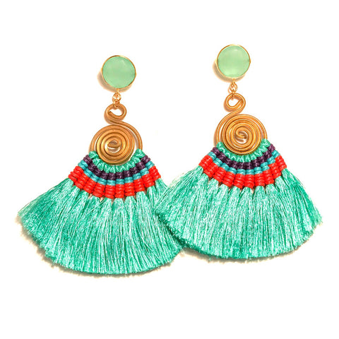 HE 620 Genevieve Tassel Earrings - Seafoam Blue
